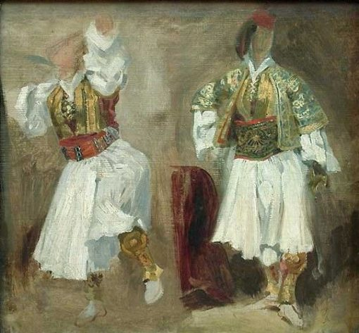 Deux études de costumes souliotes   Eugene Delacroix   Oil Painting