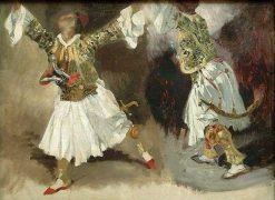 Deux guerriers grecs dansant (study: Two Military Greeks Dancing)   Eugene Delacroix   Oil Painting