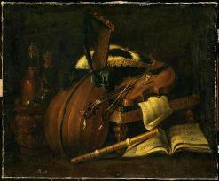 Still Life of Musical Instruments and a Tricorn(also known as Nature morte aux instruments de musique et tricorne) | Evaristo Baschenis | Oil Painting
