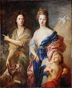 Portrait of a couple in Venus and Paris   Francois de Troy   Oil Painting
