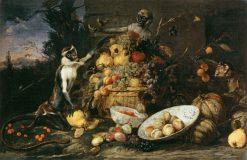 Three Monkeys Stealing Fruit | Frans Snyders | Oil Painting
