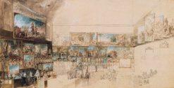 View of the Salon of 1765   Gabriel Jacques de Saint Aubin   Oil Painting