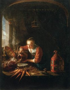 Woman Pouring Water into a Jar | Gerrit Dou | Oil Painting