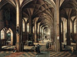 Interior of a Church with a Family in the Foregrund   Hendrick van Steenwijck the Younger   Oil Painting