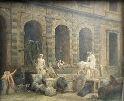 The Director of Antiquities infront of the Petite Galerie | Hubert Robert | Oil Painting