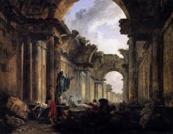 Imaginary View of the Grande Gallerie of the Louvre in Ruins | Hubert Robert | Oil Painting