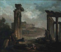 Ruins with the Colosseum | Hubert Robert | Oil Painting