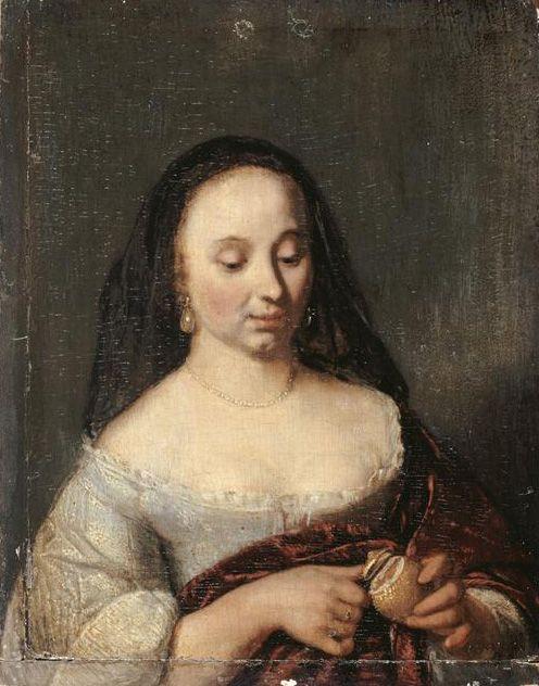 Woman Slicing a Lemon   Jacob Ochtervelt   Oil Painting