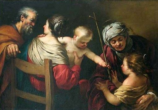 The Holy Family with Saint Elizabeth and the Infant Saint John the Baptist with the Infant Jesus   Jacques Blanchard   Oil Painting