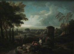 Italian Landscape with Figures and Fountain | Jan Frans van Bloemen | Oil Painting