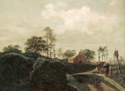 Landscape with Peasants in front of an Oratory | Jan van der Heyden | Oil Painting
