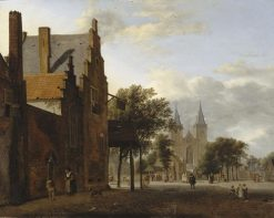 Square and Church of Saint Victor at Xanten in Germany | Jan van der Heyden | Oil Painting