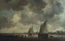 Two Large Sailing Boats on a River and Cattle Nearby | Jan van Goyen | Oil Painting