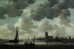 The Meuse at Dordrecht with the Grote Kerk: View from the South-West   Jan van Goyen   Oil Painting