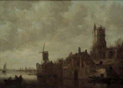 Waterside Landscape with a Windmill and Ruined Castle | Jan van Goyen | Oil Painting