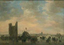 Ice-Skating near the Ruins of Huis te Merwede at Dordrecht   Jan van Goyen   Oil Painting