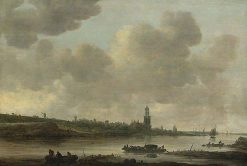 View of Rhenen on the Rhine with the Church of Saint Cunera   Jan van Goyen   Oil Painting