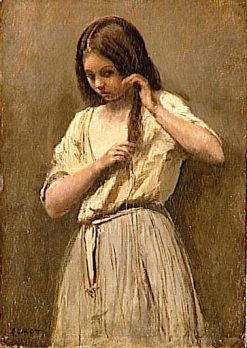 Jeune fille a sa toilette (Young Girl Combing her Hair) | Jean Baptiste Camille Corot | Oil Painting