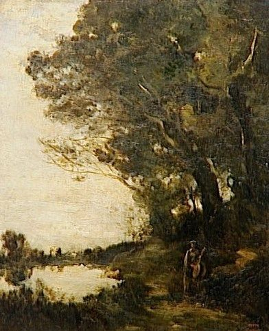 A Muse under the Trees   Jean Baptiste Camille Corot   Oil Painting