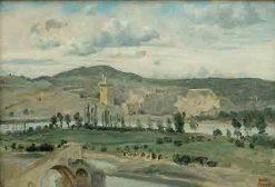 Villeneuve-les-Avignon: The Philippe le Bel Tower   Jean Baptiste Camille Corot   Oil Painting