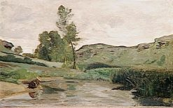 Washerwoman at Optevoz   Jean Baptiste Camille Corot   Oil Painting