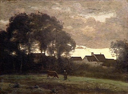 Cowmaid in a Field at Sunset | Jean Baptiste Camille Corot | Oil Painting