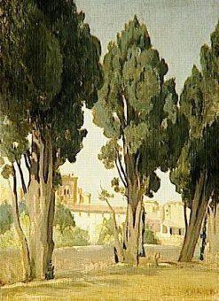 Villeneuve les Avignon: Terrace of the Garden in the Hospice   Jean Baptiste Camille Corot   Oil Painting