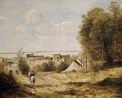 Entrance to a Village | Jean Baptiste Camille Corot | Oil Painting