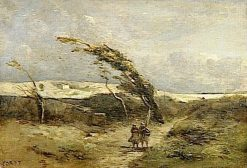 Gust of Wind   Jean Baptiste Camille Corot   Oil Painting
