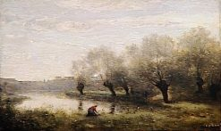 Willow Plantation in the Marais   Jean Baptiste Camille Corot   Oil Painting