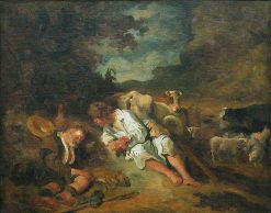 Mercury Preparing to Kill the Giant Argus to Deliver the Nymph Io | Jean HonorE Fragonard | Oil Painting