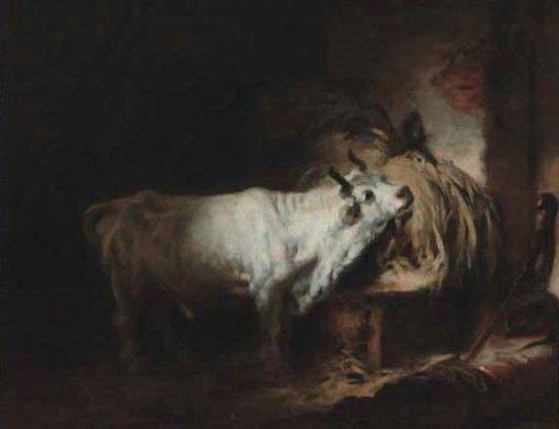 Le taureau blanc a l'étable (The White Bull in the Barn) | Jean HonorE Fragonard | Oil Painting
