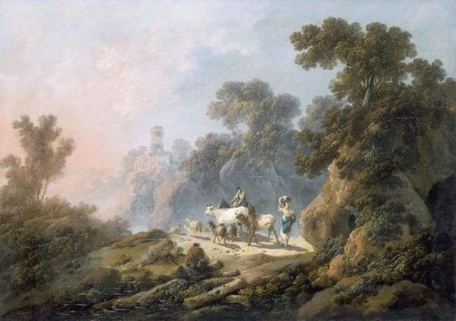 Landscape with Shepherds and Cattle   Jean Pillement   Oil Painting