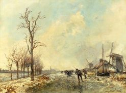 Dutch Skaters with Two Windmills | Johan Barthold Jongkind | Oil Painting