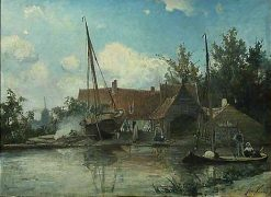 Dutch Landscape with a large Caulking Boat | Johan Barthold Jongkind | Oil Painting