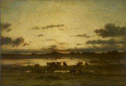 Soleil couchant sur un marais (Setting Sun on Marshland) | Jules DuprE | Oil Painting