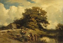 L'abreuvoir et le grand chêne (Watering Place and the Large Oak) | Jules DuprE | Oil Painting