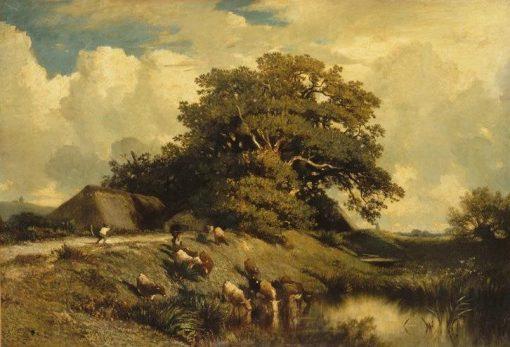 L'abreuvoir et le grand chêne (Watering Place and the Large Oak) | Jules DuprE | Oil Painting