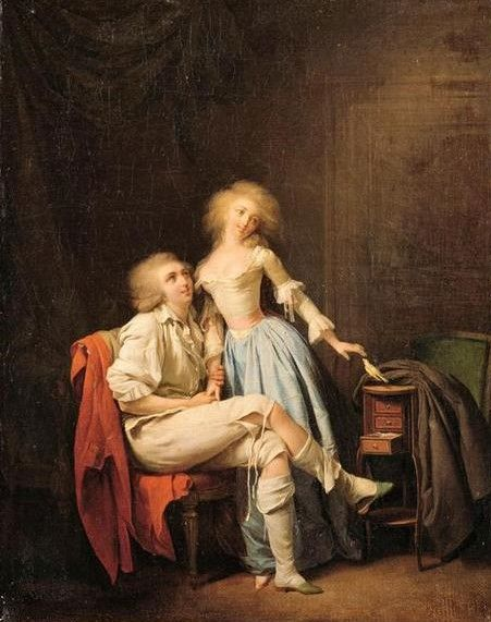 L'oiseau privé (The Couple with the Bird)   Louis LEopold Boilly   Oil Painting