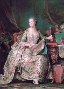Full Length Portrait of the Marquise de Pompadour   Maurice Quentin de La Tour   Oil Painting
