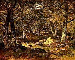 Woman and Dog in the Forest of Fontainbleau | Narcisse Dìaz de la Peña | Oil Painting