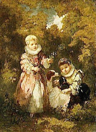 Children with Dogs   Narcisse Dìaz de la Peña   Oil Painting