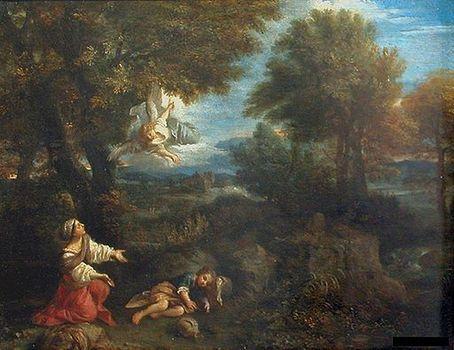 Hagar and the Angel   Pier Francesco Mola   Oil Painting