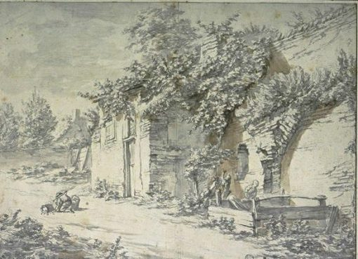 A Hut in a Rustic Court(also known as Une masure dans une cour rustique) | Pieter Mulier the Younger | Oil Painting