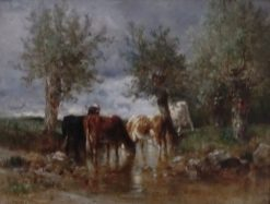 The Watering Hole | Constant Troyon | Oil Painting