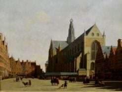 View of the Grand Market and the Church of Saint-Bavon in Haalem | Gerrit Adriaensz.Berckheyde | Oil Painting