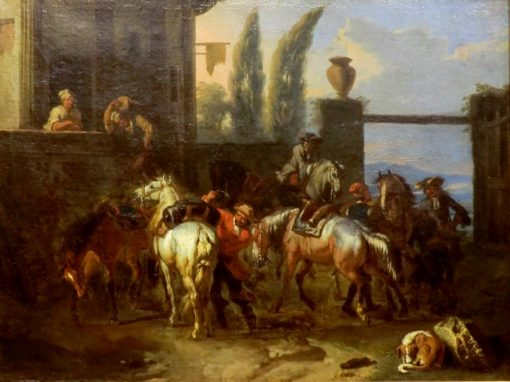 Horsemen in front of an Inn   Pieter van Bloemen   Oil Painting