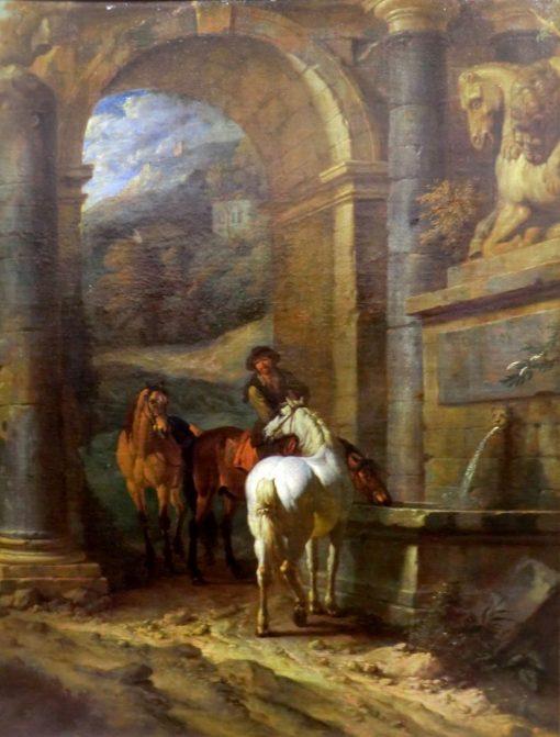 The Horse Trough   Pieter van Bloemen   Oil Painting