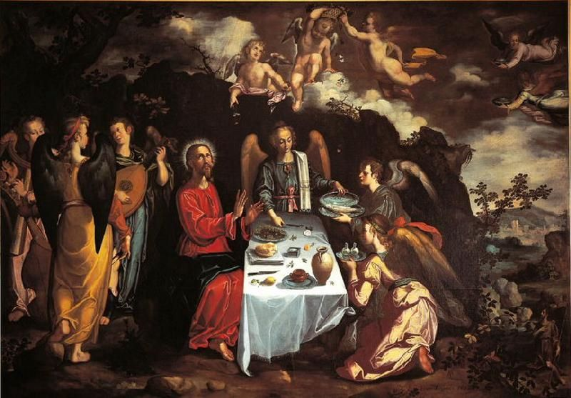 The Supper With Christ And The Angels Painting Francisco Pacheco
