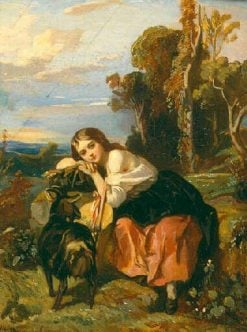Young Girl with a Goat | Camille Joseph Etienne Roqueplan | Oil Painting